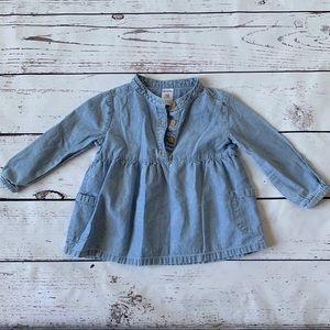 ❄️3/$25 Carter's Blue Denim Long Sleeve Blouse 18m
